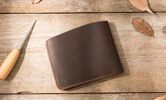 Coffee Cool Leather Mens Small Wallet Bifold Vintage Slim billfold Wallet for Men