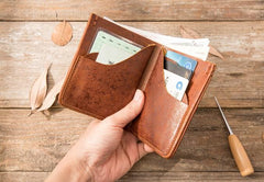 Handmade Leather Mens Small Wallets Bifold Vintage Slim billfold Wallet for Men