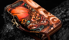 Handmade Leather Tooled Chinese Lion Mens Chain Biker Wallet Cool Leather Wallet Long Phone Wallets for Men