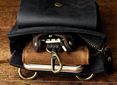Mens Leather Small Belt Pouch Side Bag Waist Pouch COURIER BAG Holster Belt Case for Men