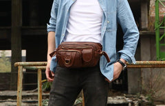 Coffee Cool Leather Fanny Packs Mens Waist Bag Hip Pack Belt Bag for Men
