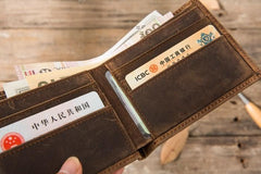 Cool Leather Mens Small Wallet Bifold Vintage Slim billfold Wallet for Men