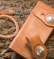 Handmade Leather Mens Cool Brown Chain Wallet Biker Trucker Wallet with Chain