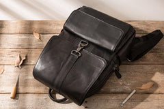 Black Cool Mens Leather Backpacks Travel Backpacks Laptop Backpack for men