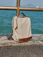 Cool Canvas Leather Mens Backpack Canvas Travel Bag Canvas School Bag for Men