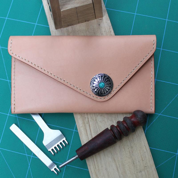 Handmade Leather Mens Envelope Long Wallet Cool Long Wallet for Men