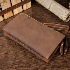 Light Brown Cool Mens long Wallet Wristlet Wallet Clutch Wallet Dark Brown Long Wallets for Men