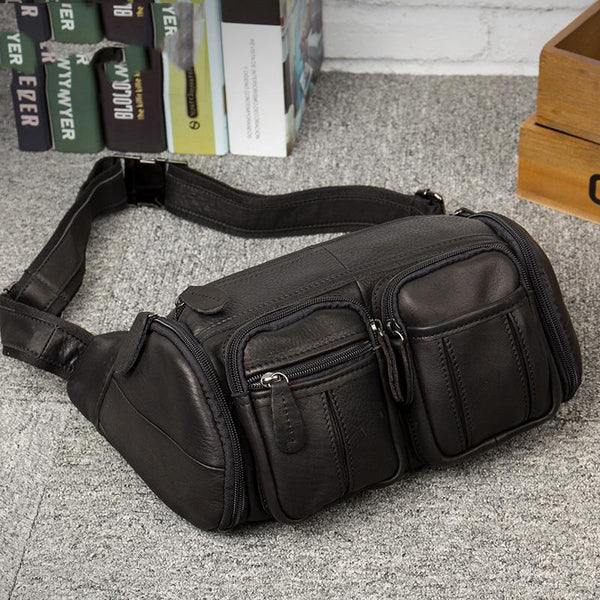 Black Leather Mens Cool Barrel Fanny Pack Hip Pack Bum Bag for men