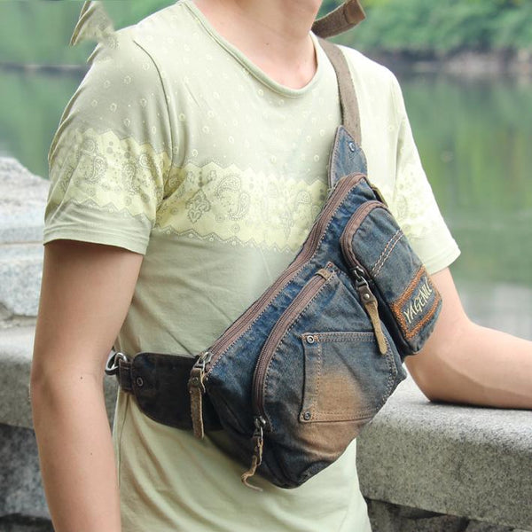 Cool Jean Blue Mens Small Fanny Pack Waist Bag Blue Chest Bag Hip Bag Bum Bags For Men
