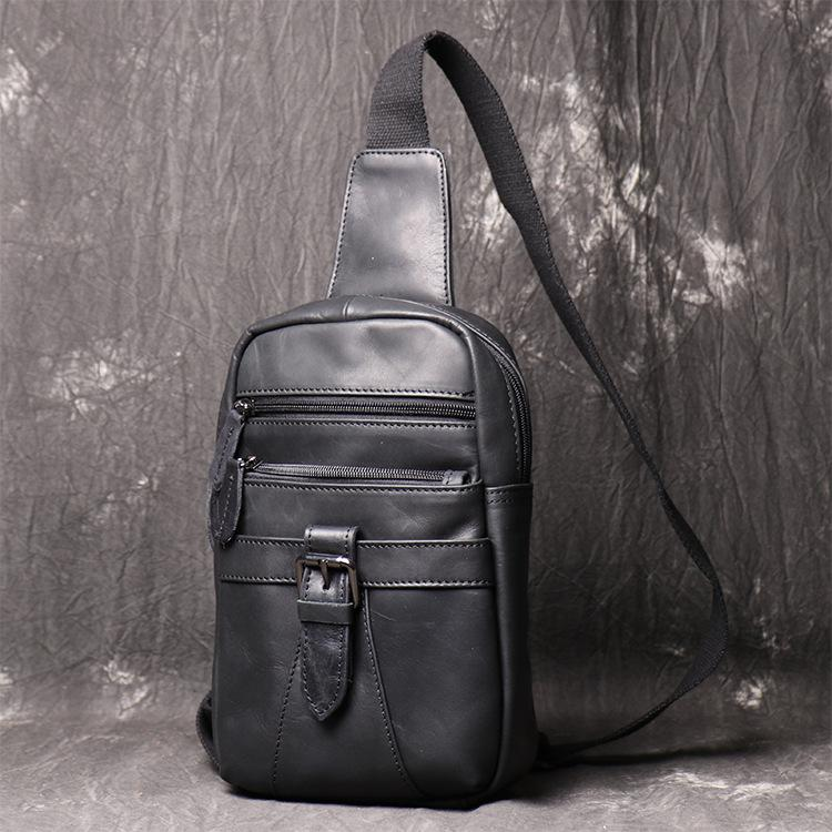 Black Leather Sling Backpack Sling Bag Chest Bag One shoulder Backpack Black Sling Pack For Men