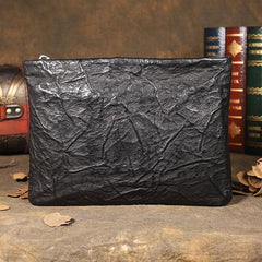Handmade Leather Mens Black Cool Long Wallet Wirstlet Bag Ultra Thin Clutch Wallet for Men