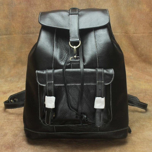 Casual Black Leather Men's Backpack College Backpack Brown 14inch Laptop Backpack For Men and Women
