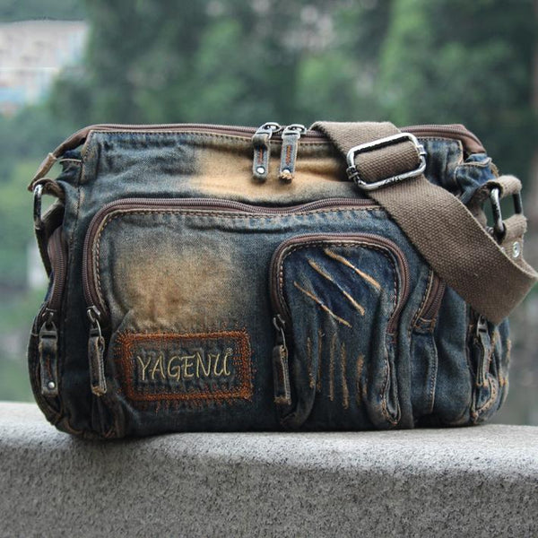 Denim Blue Mens Casual Side Bag Messenger Bag Jean Blue Postman Bags Courier Bag For Men