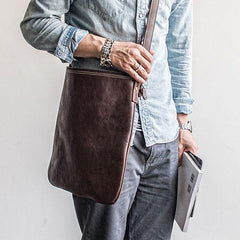 Genuine Leather Mens Cool Messenger Bag Satchel Bag Laptop Bag Cycling Bag for men