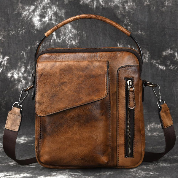 Vintage Brown Leather Men's Small Side Bag Vertical Business Handbag Black Courier Bag For Men