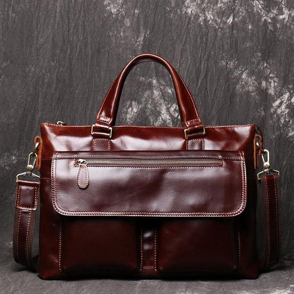 Red Brown Oily Leather Mens 14 inches Large Laptop Work Bag Handbag Briefcase Shoulder Bags Business Bags For Men