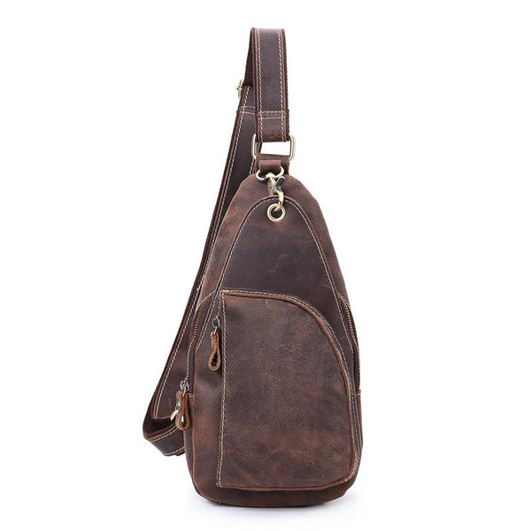 Vintage Brown Leather Sling Backpack Men's Sling Bag Chest Bags One shoulder Backpack For Men