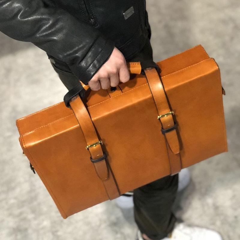 Handmade Leather Mens Cool Business Bag Messenger Bag Briefcase Work Bag Laptop Bag for men