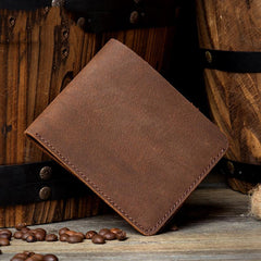 Brown Cool Leather Mens Bifold Small Wallet Thin Front Pocket Wallets Slim billfold Wallet for Men