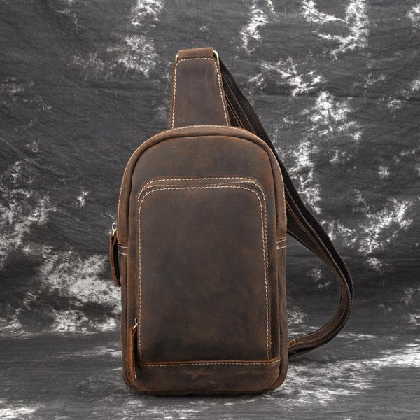 Brown Leather Men's Brown Sling Bag Sling Pack Chest Bag One Shoulder Backpack For Men