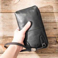 Black Leather Mens Long Zipper Clutch Wallet Wristlet Bag Long Wallet Phone Purse for Men