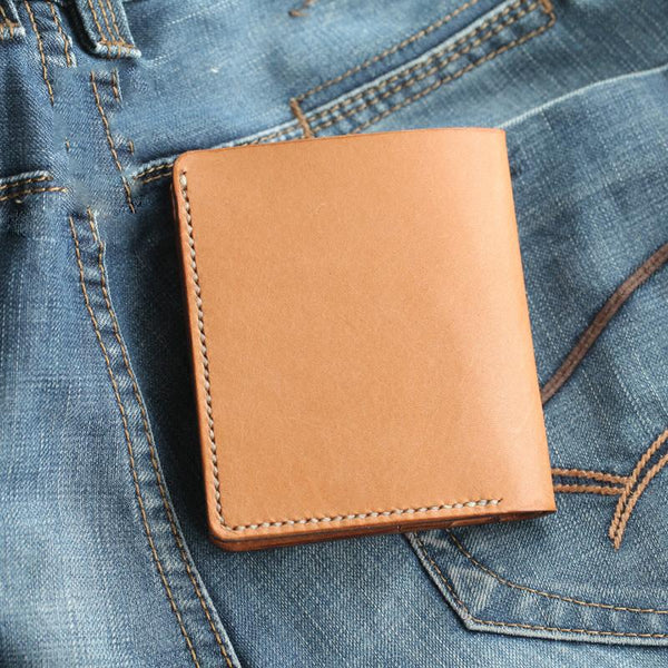 Cool Beige Leather Mens Vertical Small Wallet billfold Wallet Bifold Slim Wallet For Men
