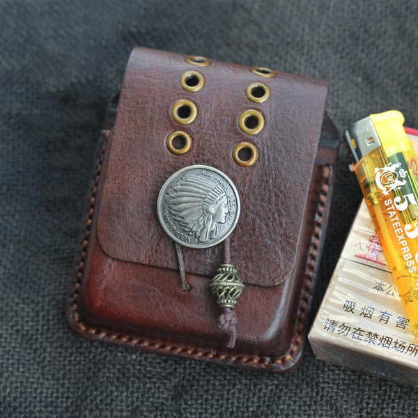 Handmade Coffee Leather Mens Cool Zippo Cigarette Case with Lighter Holder Belt Loop for Men