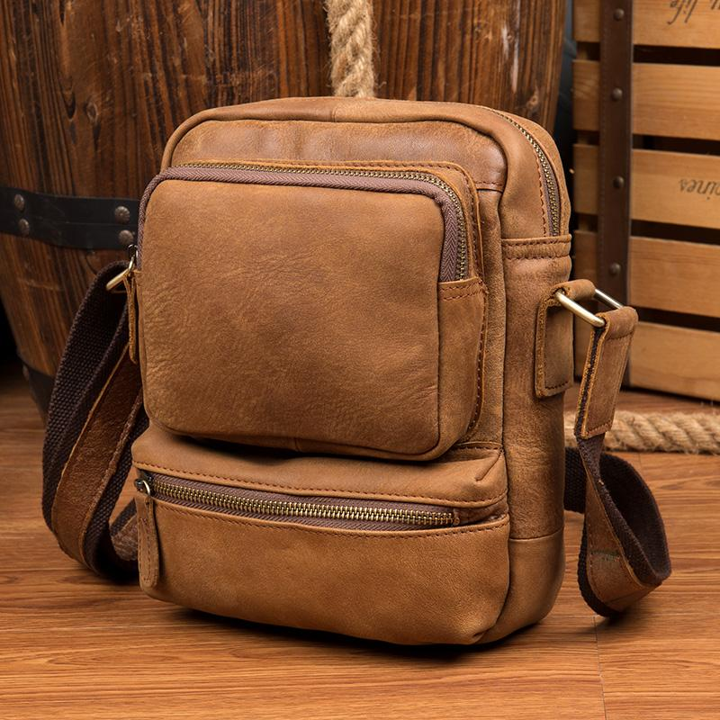 Cool Khaki Leather 10 inches Vertical Side Bag Messenger Bag Tan Courier Bag for Men