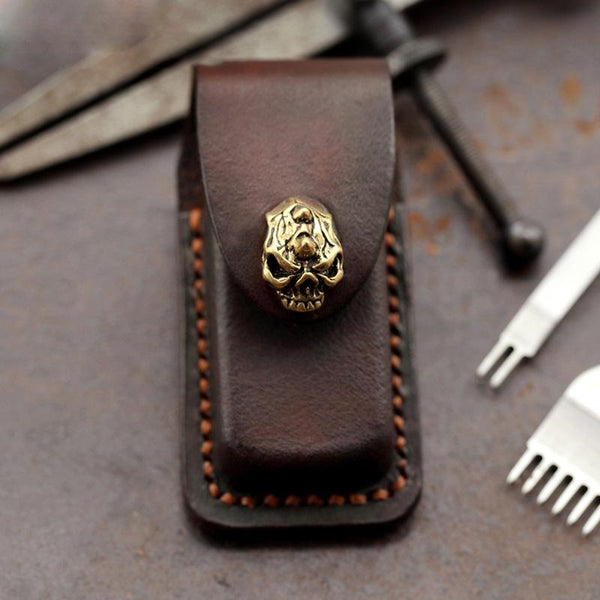 Skull Brown Leather Mens Dunhill Lighter Cases Standard Dunhill Lighter Holder For Men