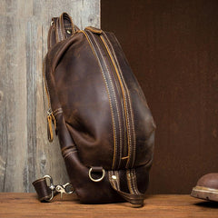 Cool Dark Brown Leather Mens Sling Pack Sling Bags Light Brown Crossbody Pack Chest Bag for men