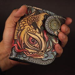 Tooled Arowana Handmade Leather Mens Short Biker Wallets BIfold SMall Wallet For Men