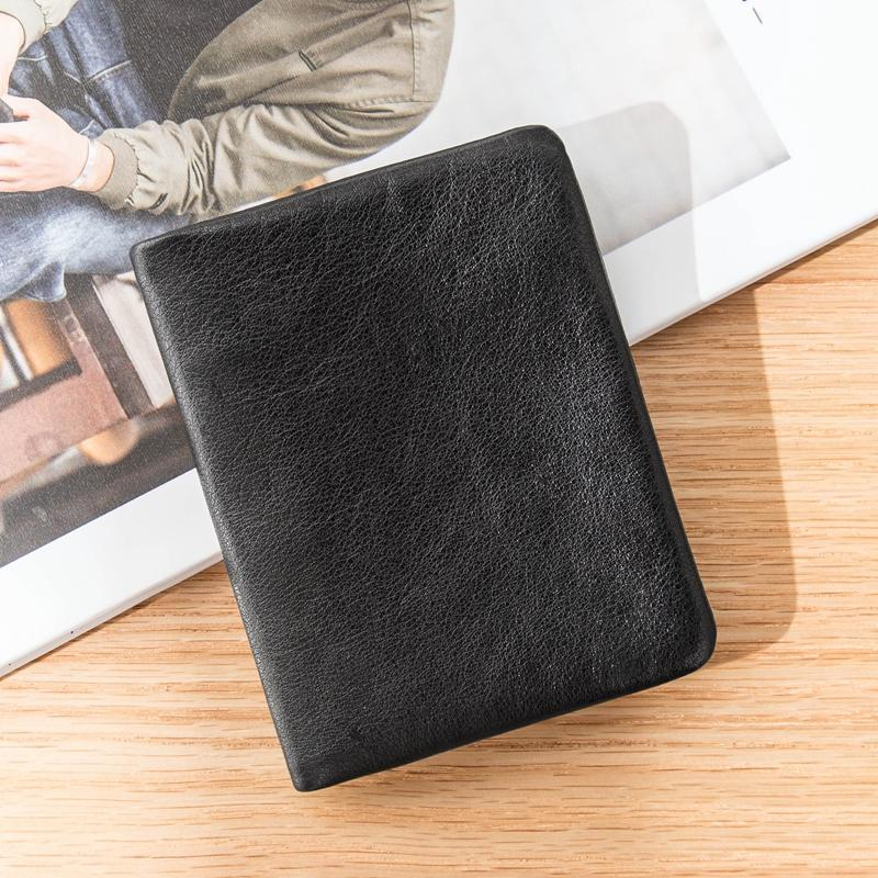 Black Soft Leather Mens Small Wallet Multicard Wallet Bifold Vintage Ultra Thin billfold Wallet for Men
