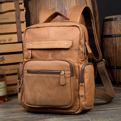 Casual Khaki Leather Mens 13 inches School Backpacks Tan Computer Backpack for Men