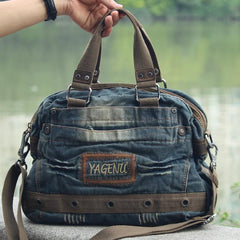 Fashion Blue Denim Mens Womens HandBag Courier Bags Blue Jean Messenger Bags For Women