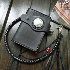 Handmade Leather Biker Wallet Mens Cool Short Chain Wallet Trucker Wallet with Chain