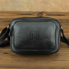 Black Fashion Leather Mens 10 inches Small Courier Bag Black Postman Bags Side Bag Messenger Bag For Men