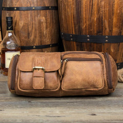 Brown Leather Barrel Fanny Pack Mens 8 inches Waist Bag Hip Pack Belt Bags Bumbags for Men