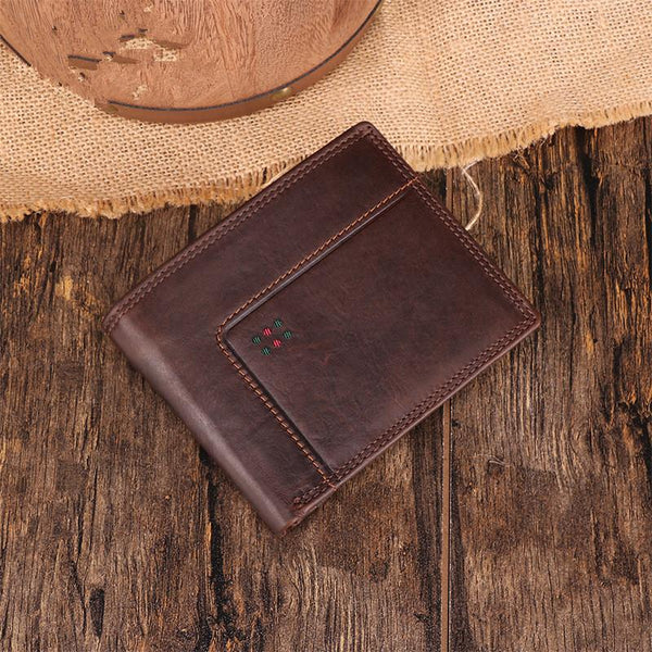 Chocolate Bifold Leather Mens Small Wallet billfold Wallet Driver's License Wallet for Men