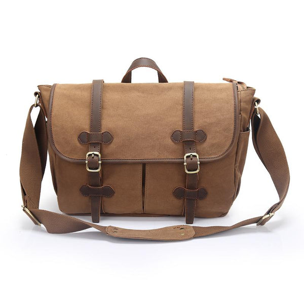 "Canvas Leather Mens Womens 14"" Side Bag Khaki Messenger Bag Shoulder Bag Handbag for Men"