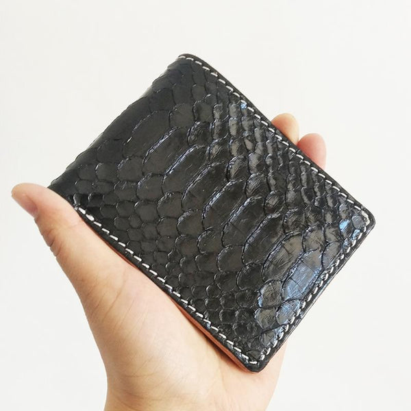 Handmade Cool Mens Black Snake Skin Small Wallet Yellow Slim billfold Wallets For Men