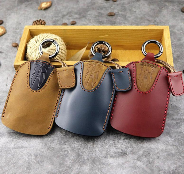Brown Leather Draw Men and Women's Key Wallet Wine Red Key Case Car Car Key Holder For Men