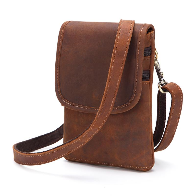 Cool Brown Leather Mens Mini Shoulder Bag Belt Pouch Belt Bags For Men