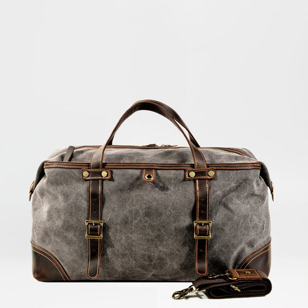 Casual Waxed Canvas Leather Mens Gray Large Travel Weekender Bag Luggage Duffle Bag for Men