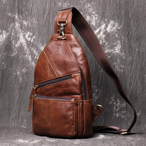 Brown Leather Backpack Men's Sling Bag Chest Bag Brown One shoulder Backpack Sling Pack For Men