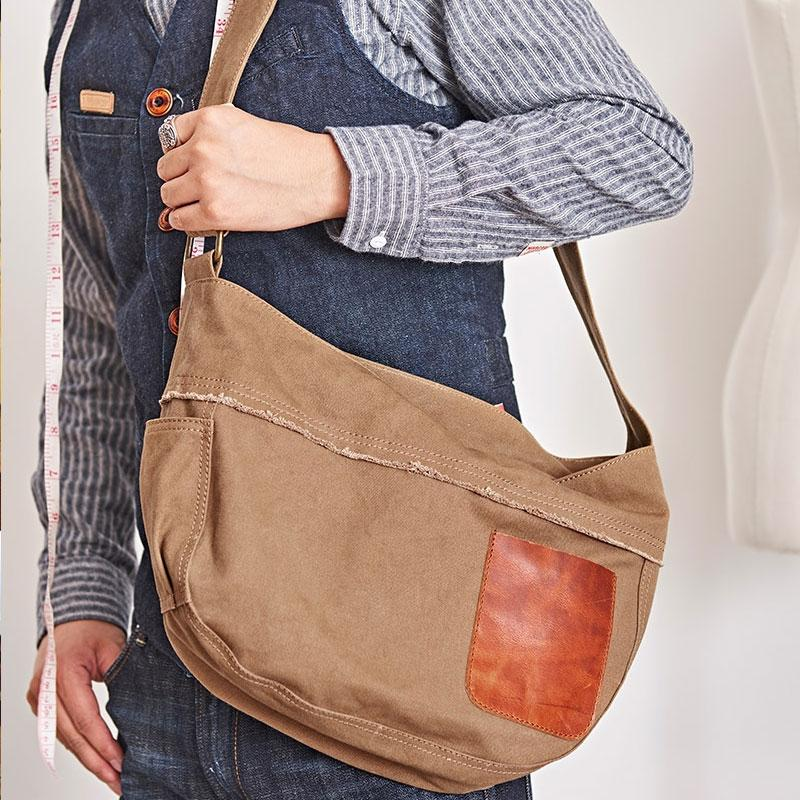 Mens Canvas Cool Side Bag Messenger Bag Canvas Saddle Shoulder Bag for Men
