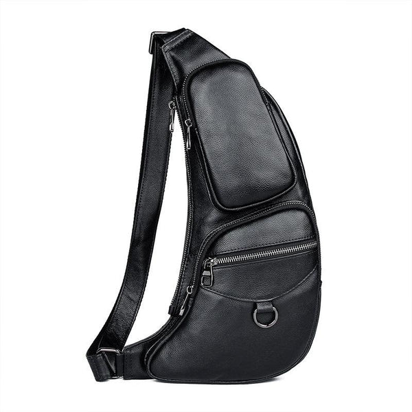 Badass Black Leather Men's Sling Bag Chest Bag One shoulder Backpack Chest Bag For Men
