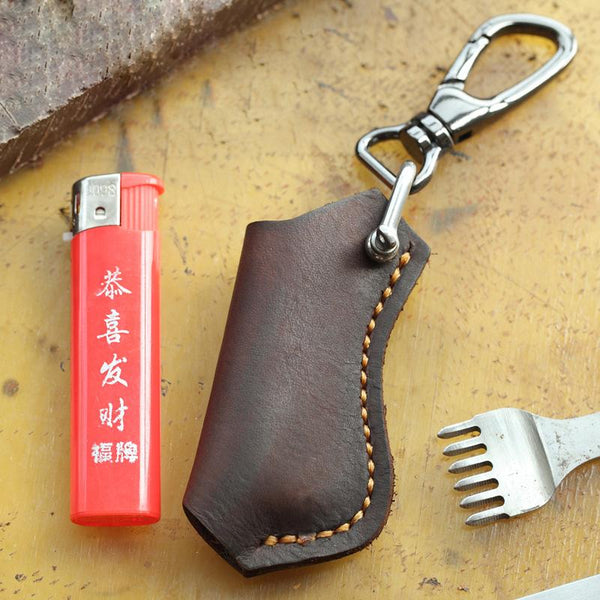 Dark Brown Leather Mens Disposable Lighter Case Lighter Holder with Belt Clip For Men
