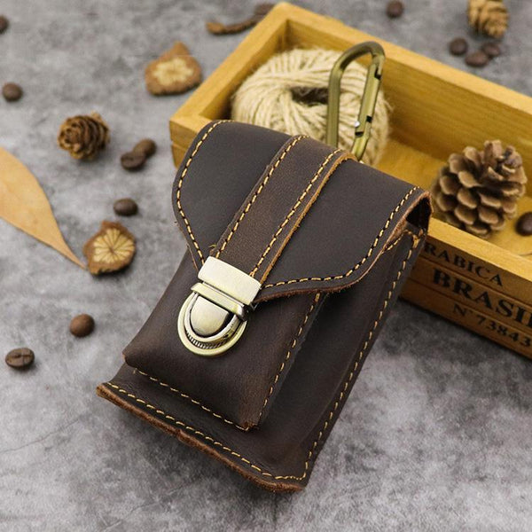 Leather Mens Cigarette Cases with Lighter Holder With Belt Loop Cigarette Holder For Men