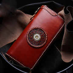 Handmade Leather Mens Chain Biker Wallet Tibetan Cool Leather Wallet Long Phone Wallets for Men