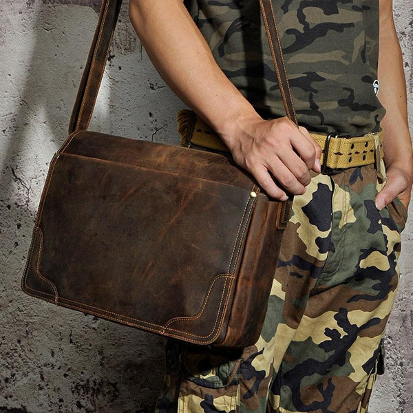 Brown Leather Mens SIDE BAG COURIER BAG Messenger Bag Shoulder Bag for Men